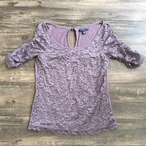 American Eagle Purple Lace Top